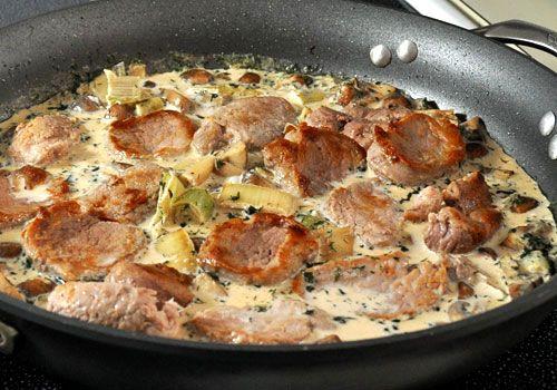 Pork with Mushrooms and Leeks