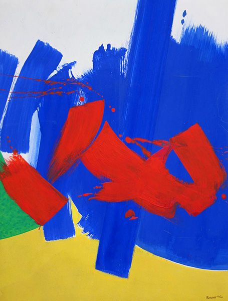 'Abstract Composition' by Philippe Erwan Dévé (1937-2012) Acrylic on paper laid down on panel: 61 x 47 Signed and Dated 2002