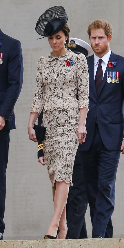 The Duchess of Cambridge was a vision in an elegant lace peplum dress and black fascinator as she paid her respects commemorating the 100th anniversary of the Battle of the Somme with French president Francois Hollande.