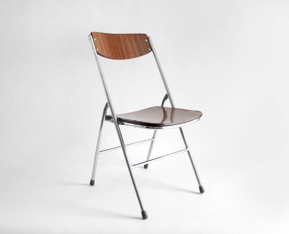 vintage faux bois folding chair