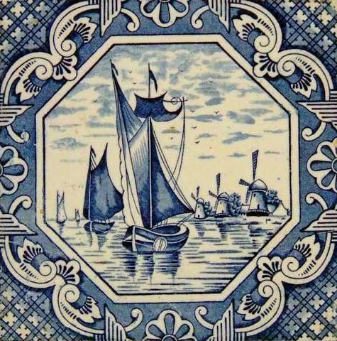 Vintage Blue and White Tile with Boats