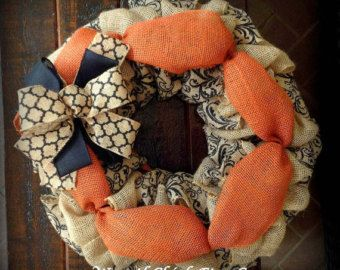 Large Burlap Halloween Wreath Halloween by ContemporaryCrafting