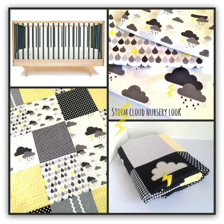 storm cloud nursery in black grey and yellow by alphabet monkey