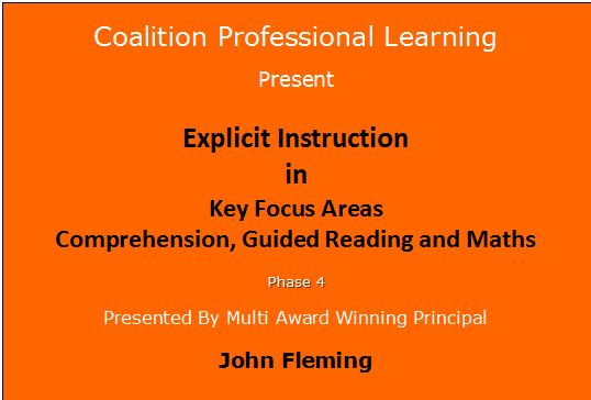 Explicit Instruction Comprehension, Maths 30 May 2015