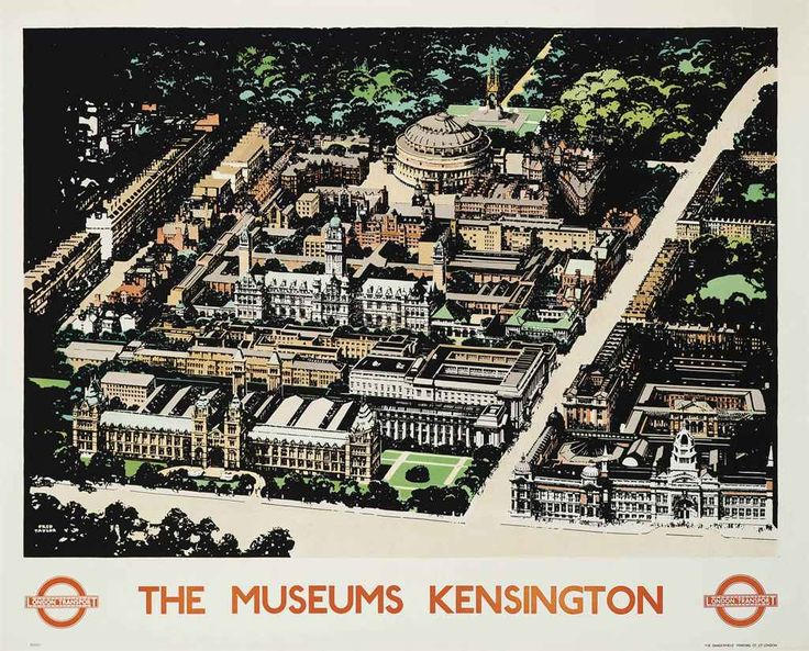 THE MUSEUMS KENSINGTON by Fred Taylor, 1934 ~ London Underground Poster