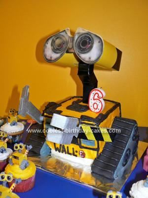 Homemade  Wall E 6th Birthday Cake: This Wall E 6th Birthday Cake was easier with two people! My husband actually ended up making the head and arms for me. The body of Wall E is basic three