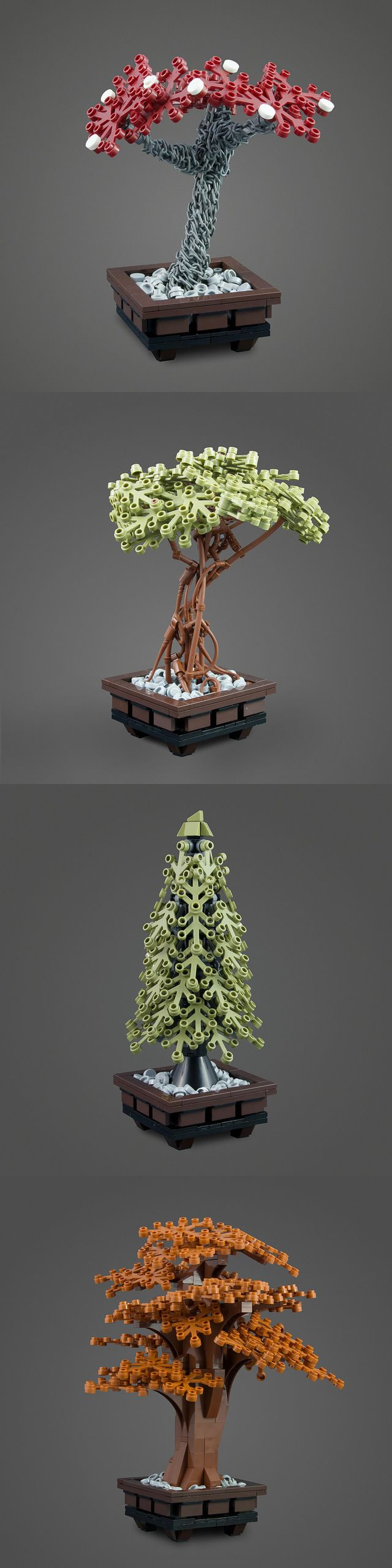 Chain Tree, Mangrove Tree, Pine Tree and Autumn Tree by Tim Schwalfenberg #LEGO #MOC #tree