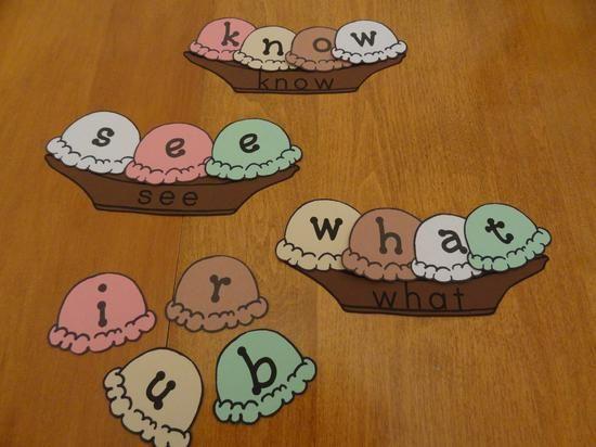 sight word ice cream builder | Sight Word Literacy Center Kindergarten Lesson Plan