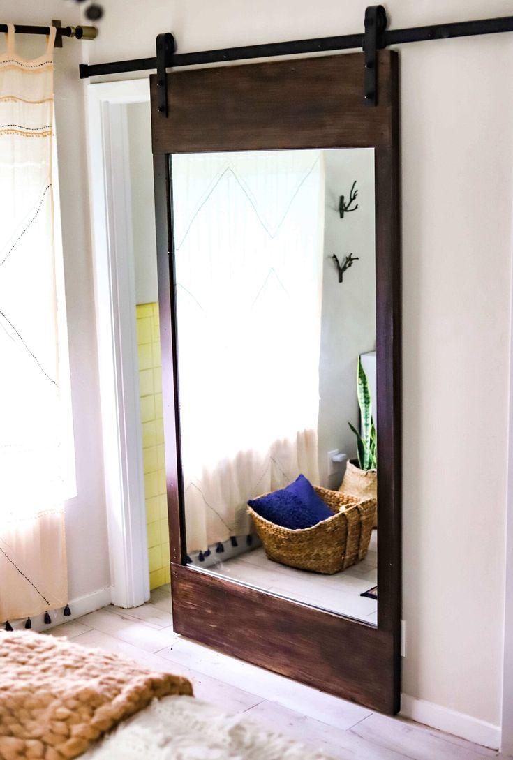 DIY Project: Rustic Sliding Barn Door + Full Length Mirror ...