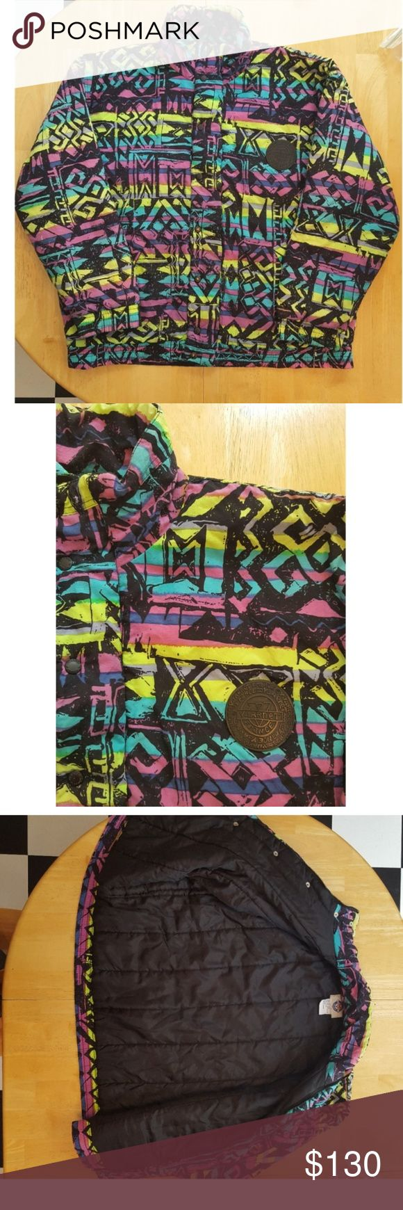 VINTAGE VUARNET FRANCE Neon Aztec Jacket Ski Coat Vintage Vuarnet France jacket from the 1980s! Men's size large. Neon green, purple, teal, black geometric Aztec print! Great vintage condition, zipper and buttons work well, small torn spot near the front bottom of the jacket (see last picture, I don't think this would be noticeable at all), some paint chips on the front buttons. Zips up the front and also has black buttons. 2 front pockets. Black insulated lining inside. 100% nylon for the…