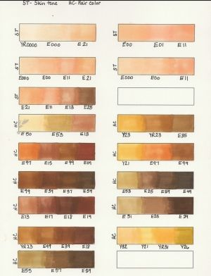 copic marker hair combinations and skin combinations by eddie