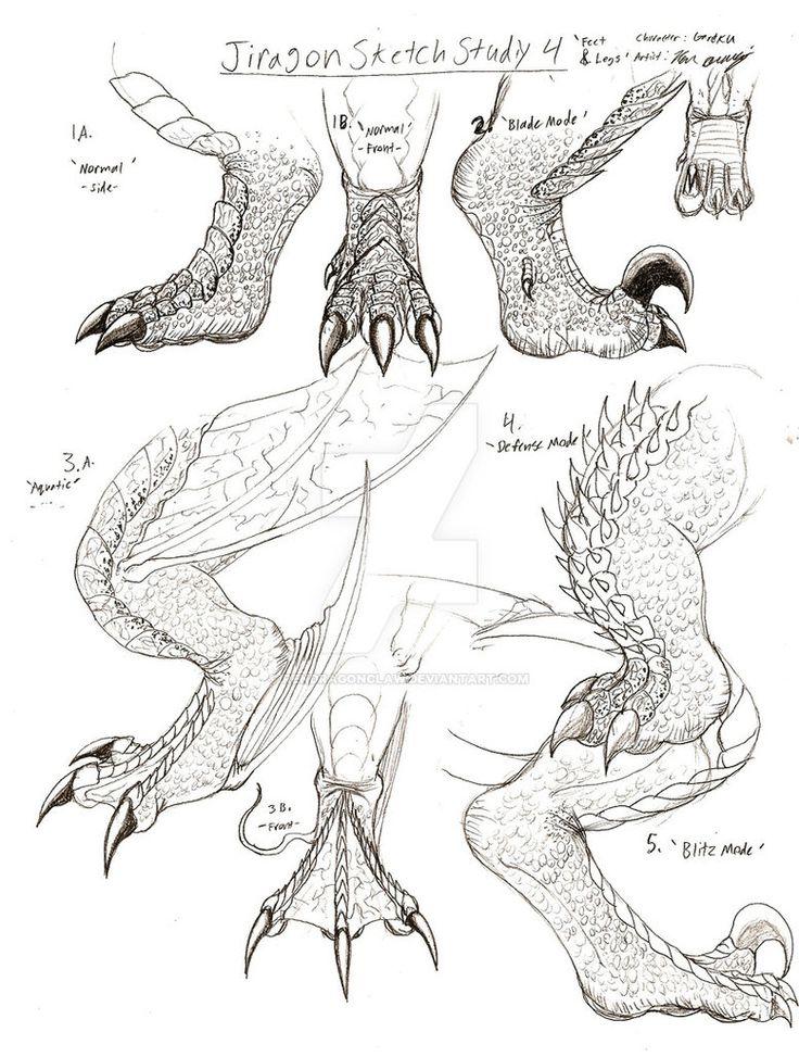 Jiragon Foot and Leg Sketches by RenDragonClaw on DeviantArt --- Daikaiju, Gareku, Giant Monster