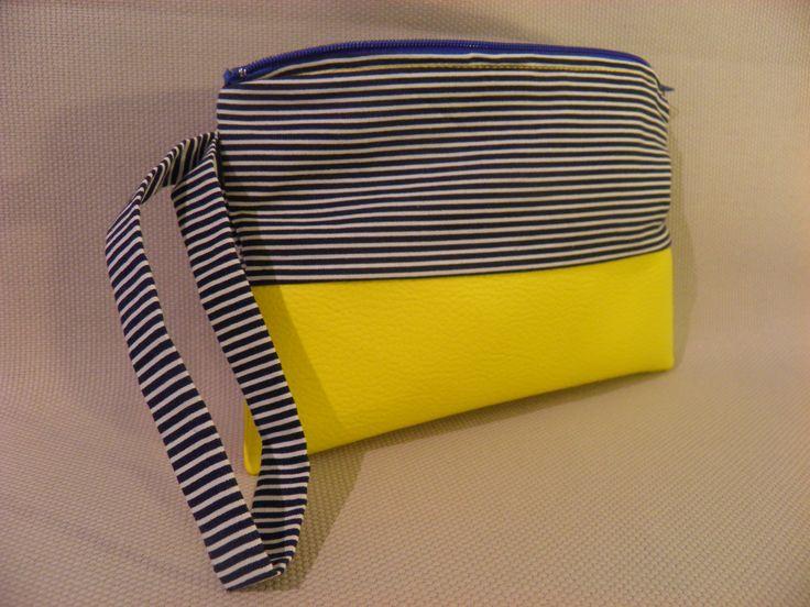 pochette à main mariniére et simili jaune
