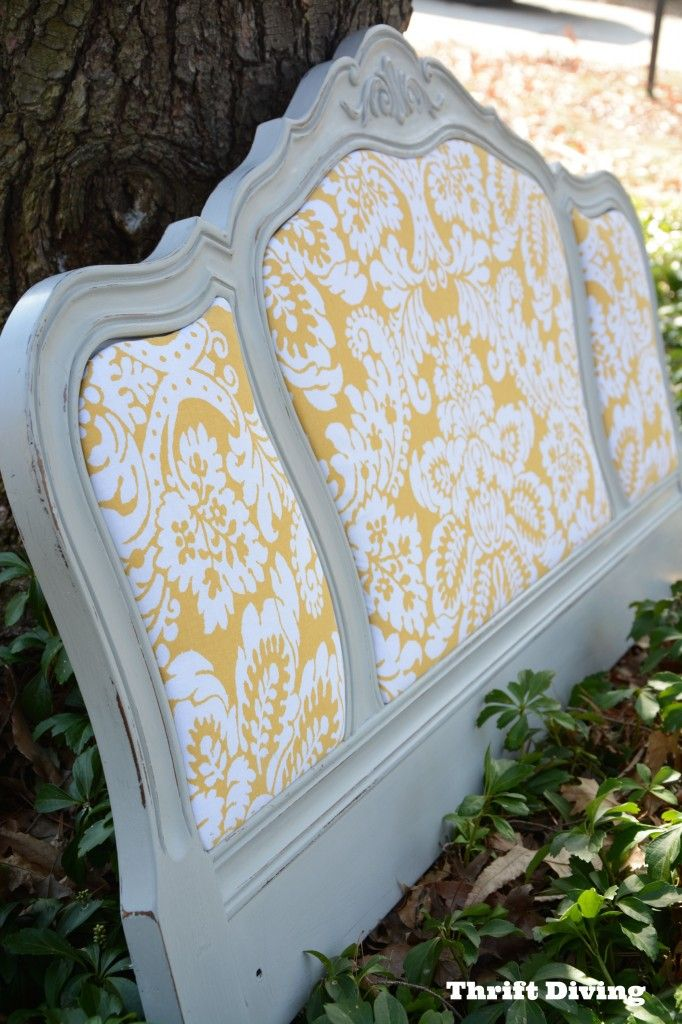 A Pretty Thrifted DIY Headboard | Thrift Diving Blog you could also use this as the back for a seat
