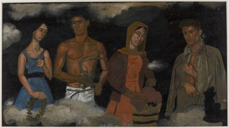 Σπουδή για τις «Τέσσερις εποχές πάνω στα σύννεφα», 1967. Λάδι καπλαμάς, 27,5 x 49,5 εκ. ©Ίδρυμα Γιάννη Τσαρούχη,