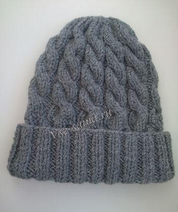 Мк - серая шапка с косами, фото