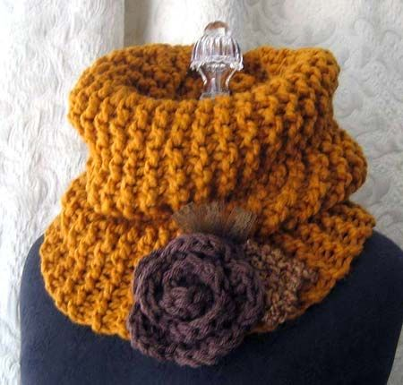 This golden yellow is my new favorite color of the season and I am going to town making these cowl neck scarves for the fall.