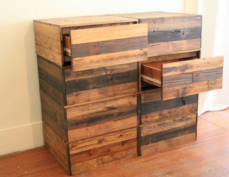 Dresser made of reclaimed wood.