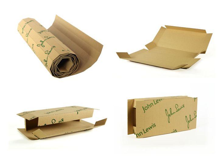 Английский дизайнер Alex Page создал универсальную систему упаковки длядоставки John Lewis.  Ключевые задачи длябудущей упаковки были:  1) создать что‑то, что было бы привлекательным дляпотребителя; 2) упаковка должна быть экологически чистой. Решением этих задач стала универсальная система упаковки. Перфорированные универсальные поразмеру квадраты изгофрокартона позволяют пользователю аккуратно отрывать лишние куски искладывать картон вокруг предмета вкоробку максимально близкую…
