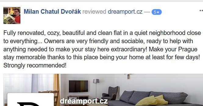 #Facebook #review from one of our #friends & fans. Thank you and #kudos to you Chatul :) #feelingblessed #dreamport Book your stay today — link in BIO  #visitprague #praguestay #reviews #goodtime #hapiness #goodtimes #dreamportprague
