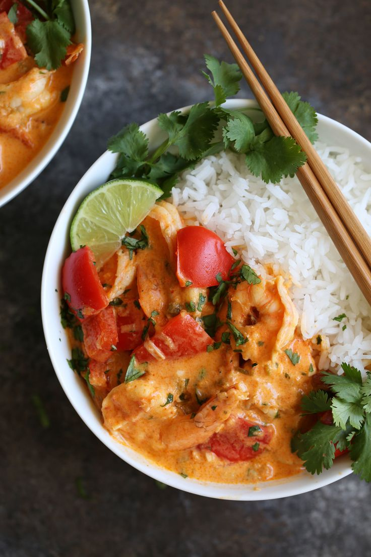 Thai Red Curry Shrimp with Jasmine Rice — recipe from Cooking with Cocktail Rings || #recipe #shrimp #thai