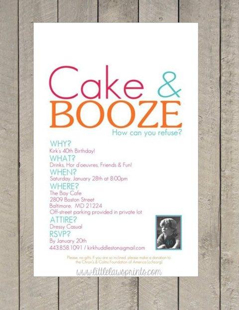 Cake & Booze-booze, adult, beer, cocktail, birthday, invitation, cake