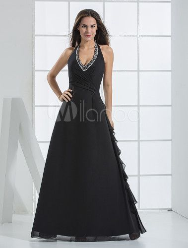 V-neck Halter Floor Length Chiffon Bridesmaid Dress - Milanoo.com