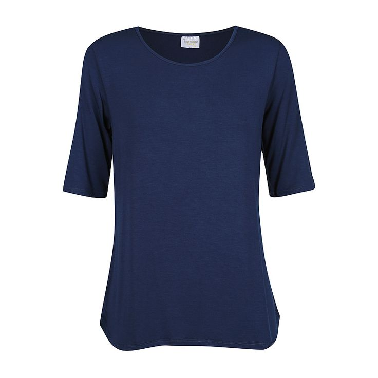 Bamboo Body - Sophie Bamboo Top (Navy) - A relaxed fit * flattering scoop neck * above elbow length sleeves * curved bottom hem with slight side splits * front length from shoulder on size medium is 62 cm Fabric - 93% Bamboo Viscose/7% Spandex Tuck it in, wear it loose, dress it up or dress it down. This top is sure to be a wardrobe staple that you will want to wear every day.