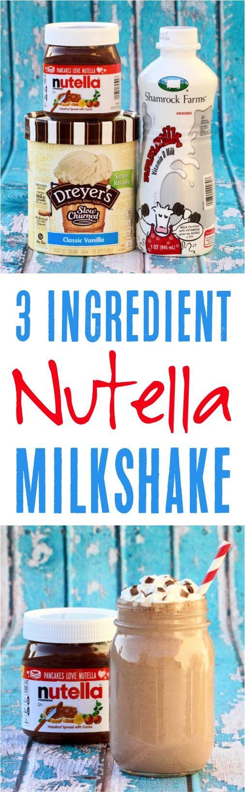 Milkshake Recipe!  You'll love this easy Nutella Milkshake drink recipe! | NeverEndingJourneys.com