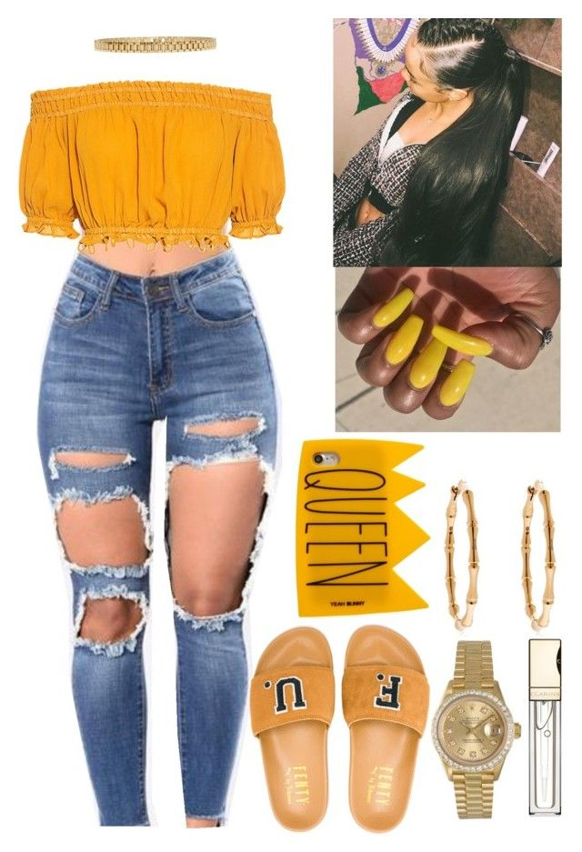 """Black Girl Magic✨"" by flawlessgirlty on Polyvore featuring Apiece Apart, Puma, Gucci, Rolex, Clarins, Yeah Bunny and AMBUSH"
