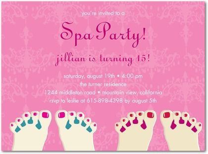 spa party teenage girl birthday party invitations – Spa Party Invitation Wording