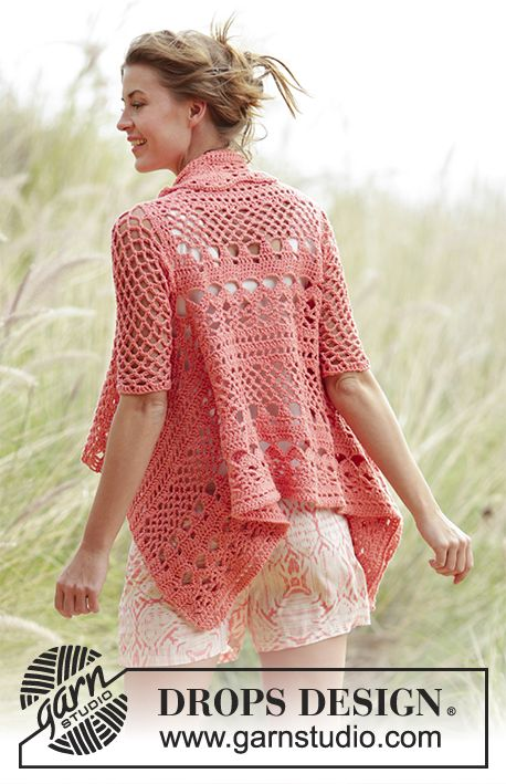Peach Dream Jacket By DROPS Design - Free Crochet Pattern - (garnstudio)