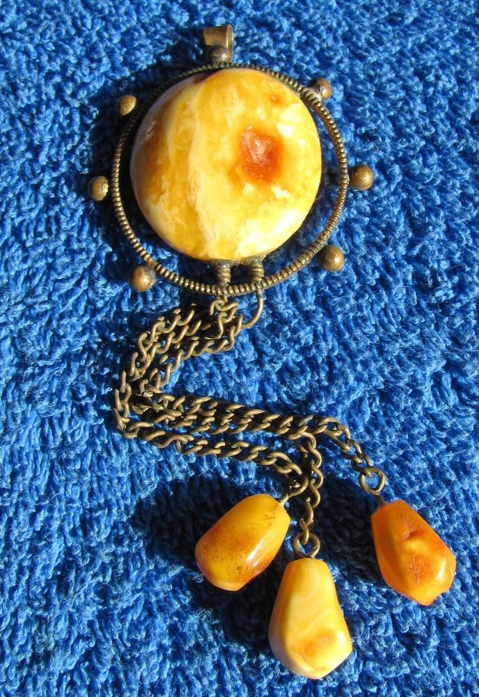 Antique Egg Yolk Yellow Natural Baltic Amber Stone Brooch 11 Gr USSR Gems  #58