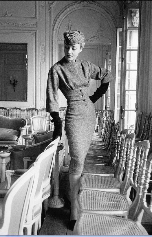 "1953 Claire in Dior's ensemble called ""Belotte"", Autumn/Winter Collection Vivante Line"
