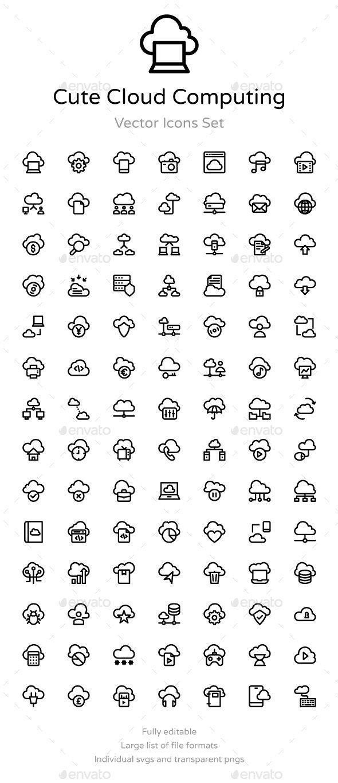 75 Cute Cloud Computing Icons Computer Icon Computer Logo Icon