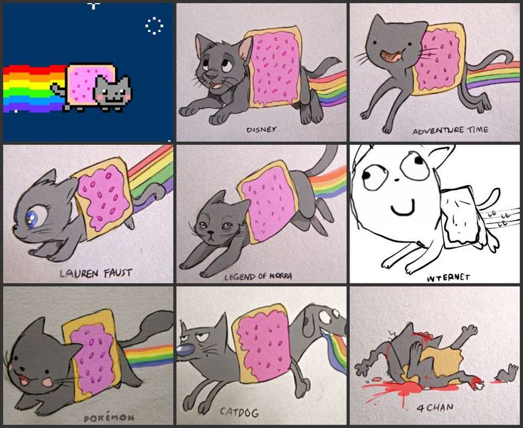Different depictions of Nyan cat.