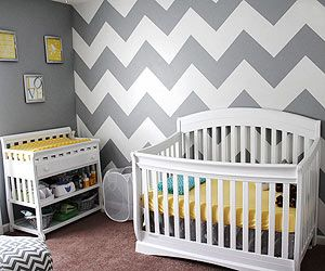 Trendy Digs: Gabrielle Flowers Rader designed this gray and yellow nursery for her son Chad.