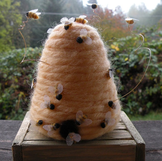needle felted beehive - very cool!