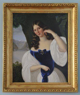 PORTRÉT DÍVKY V MODRÉM  Prodejní cena:  (6.368 EUR)  79,5 x 63,5 cm 1830, Rakousko
