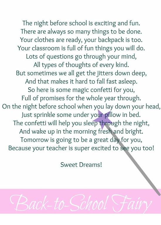 Back to School Fairy Poem