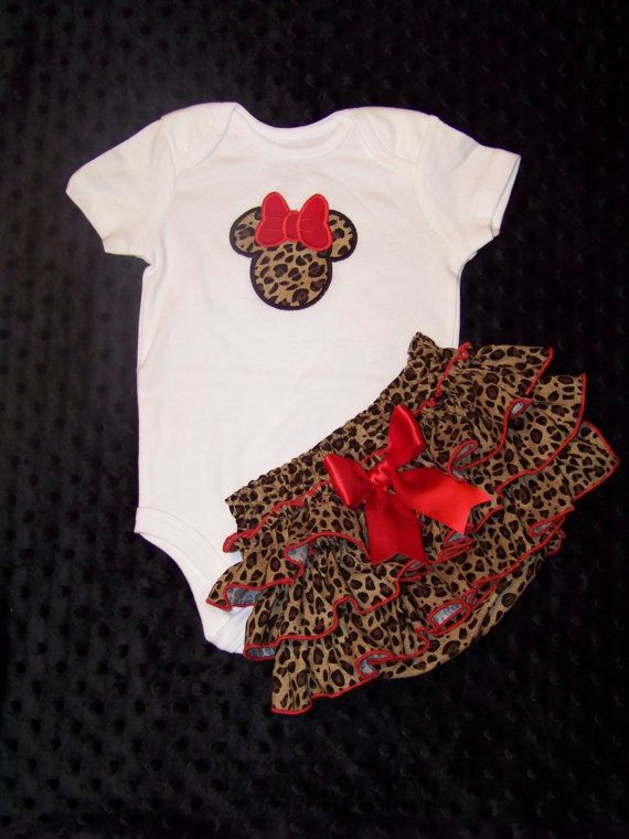 2 Pcs Minnie Mouse Set / Bodysuit  Cheetah by KarriesBoutique, $47.95