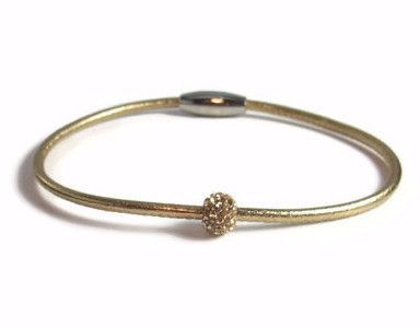 Gold Leather Anklet with Gold Rhinestone
