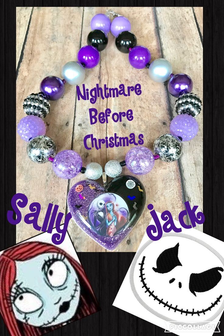 Chunky bead Nightmare Before Christmas purple and black resin pendant. Gorgeous!!!