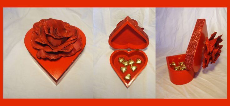 Red heart Shaped Gift-Box.  Makes a unique box to hold your special gift.  Jewellery, chocolates or any other special gift you want it to carry.   Great gift-box for Mother's Day, Valentine's or Anniversary.    * Chocolates not included.