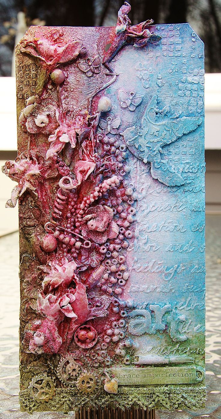 Mixed Media Tag using Lindy's Stamp Gang ink sprays.