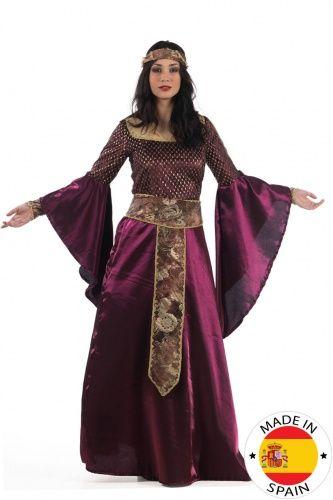 Disfraz medieval violeta mujer
