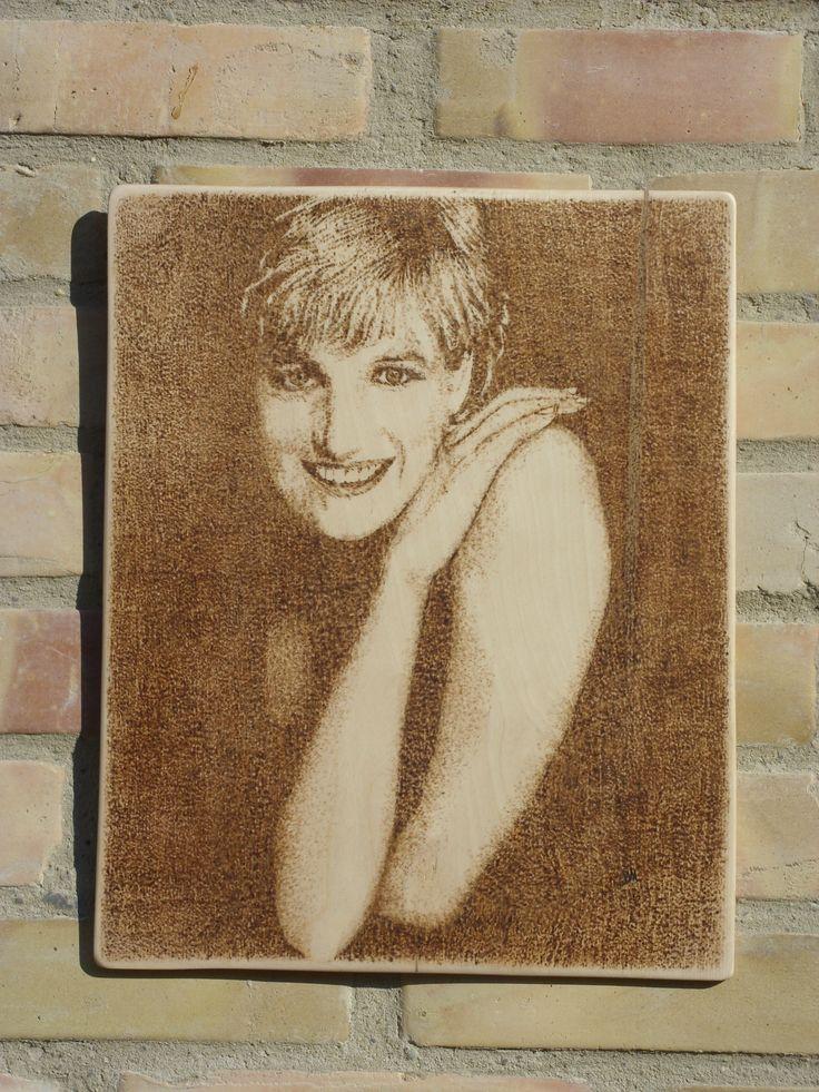 Lady Diana - kézzel égetett, pirográf kép (pyrography art)