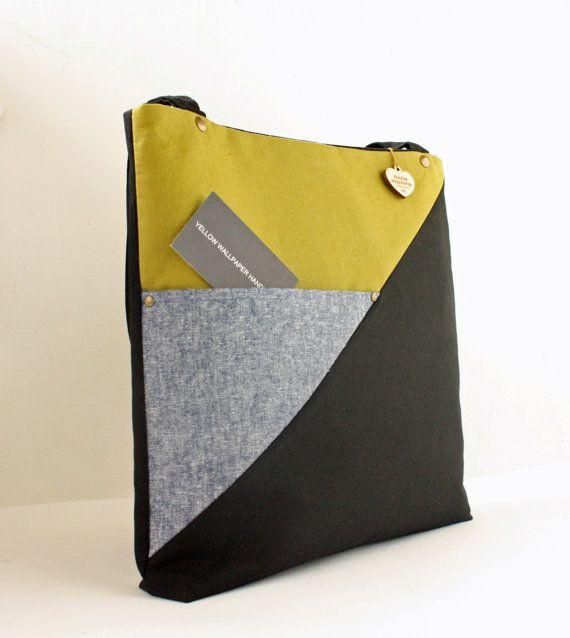 Linen and Canvas color block Tote