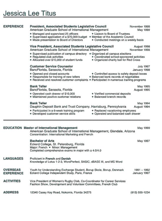 example of student resume for college application