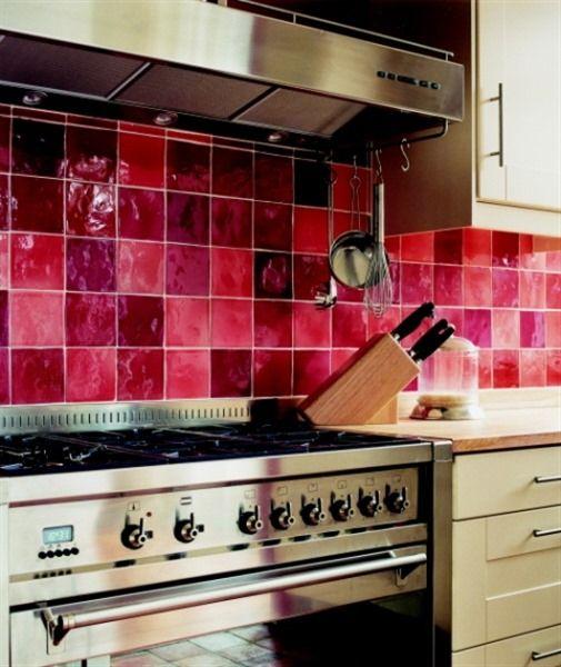 Rode Keuken Tegels : Rode keukentegels, weer eens wat anders!